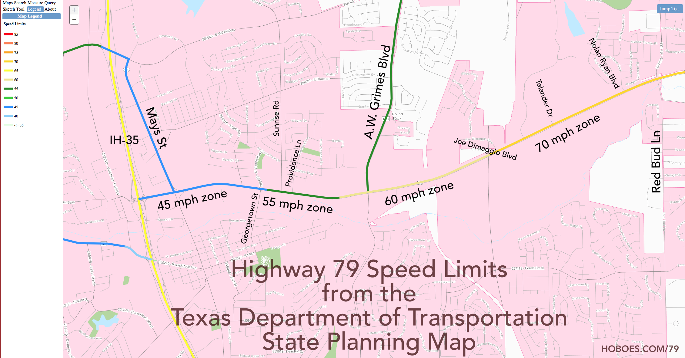 Texas Planning Map, Round Rock Highway 79 Speed Limits