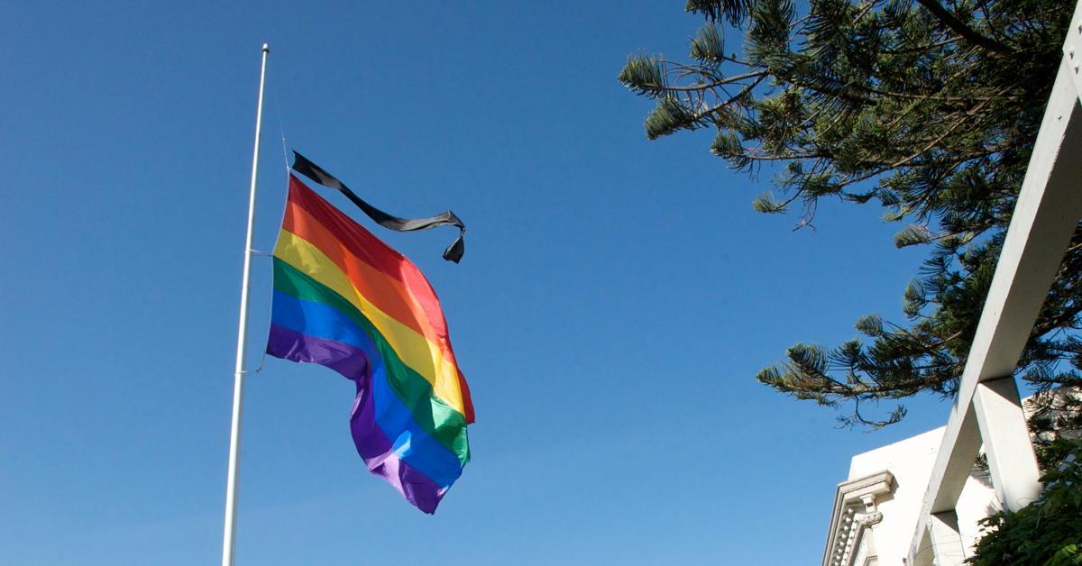 Rainbow flag half mast