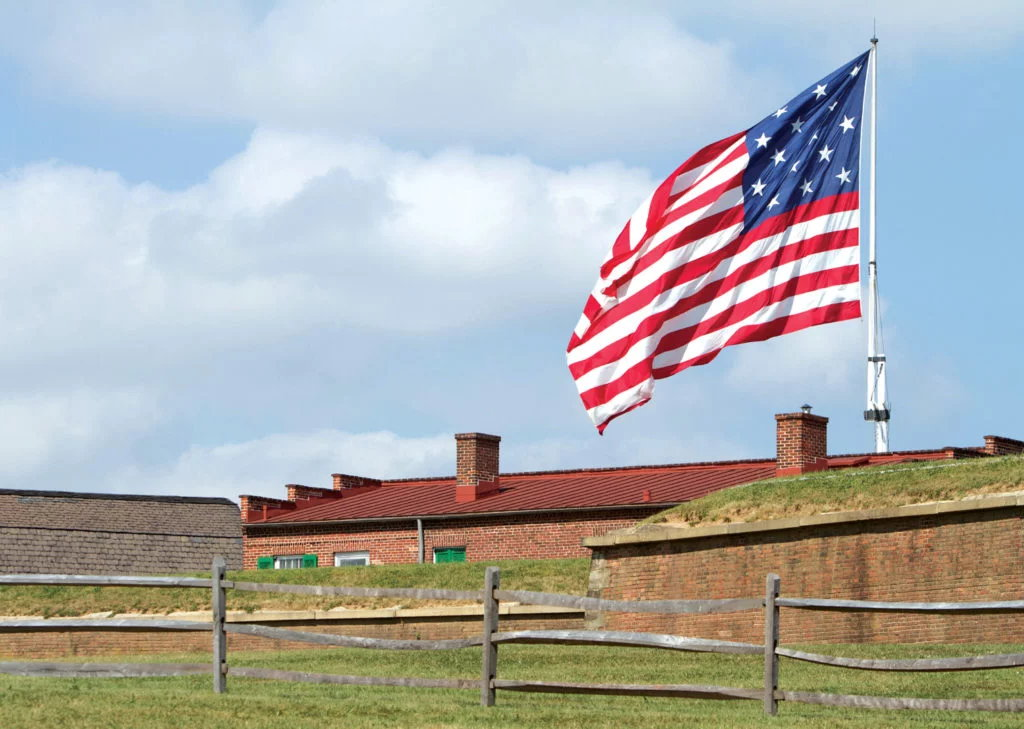 Flag behind the ramparts of Fort McHenry