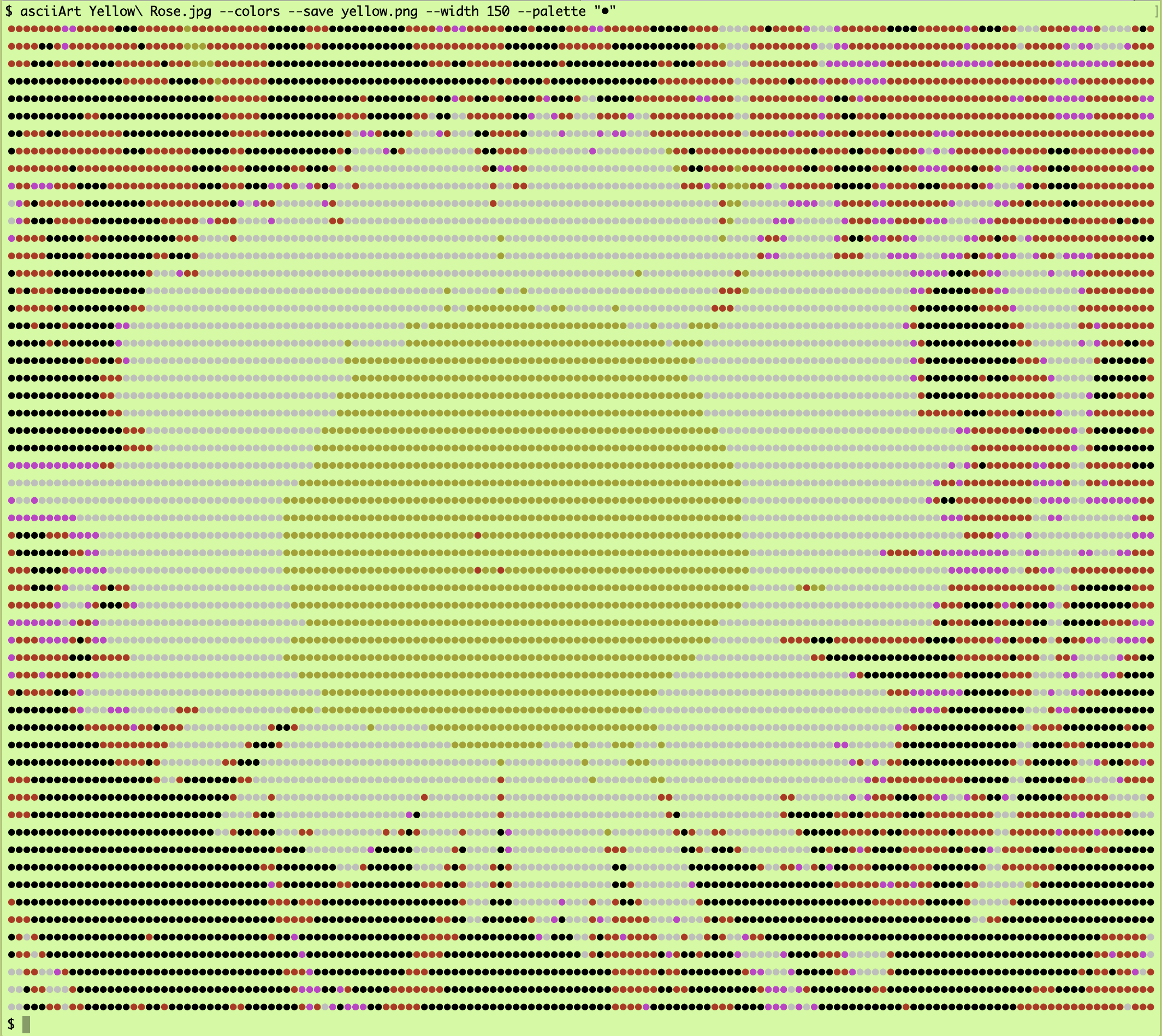 Yellow Rose ASCII art