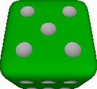 Six-sided die with all pips