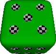 Six-sided die with checkered pips