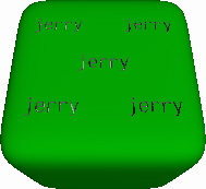 Six-sided die with text pips