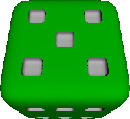 Six-sided die with cubic pips
