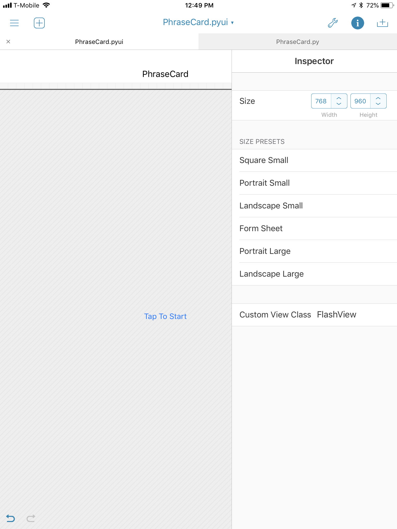 PhraseCard view Inspector