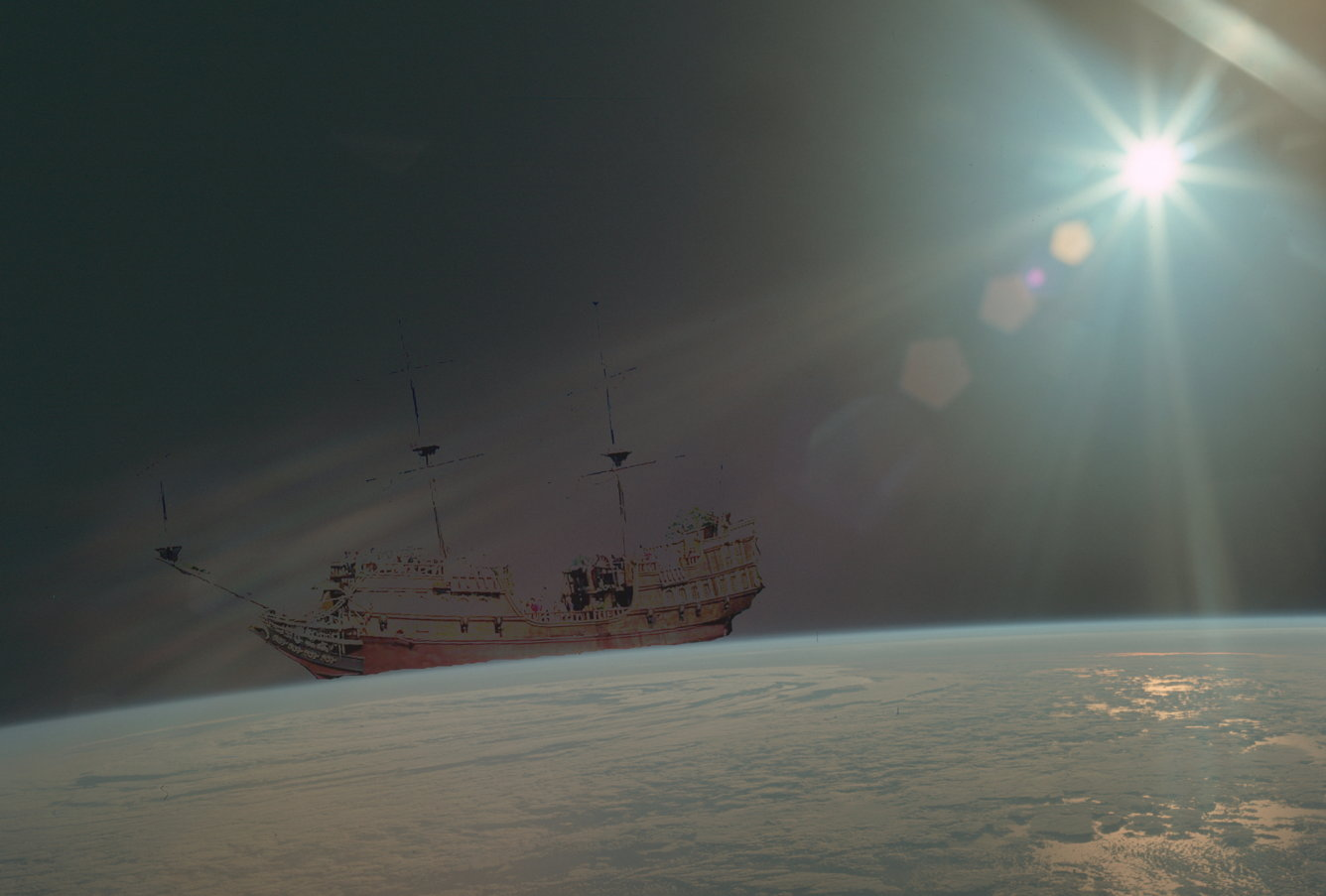 Galleon over earth horizon