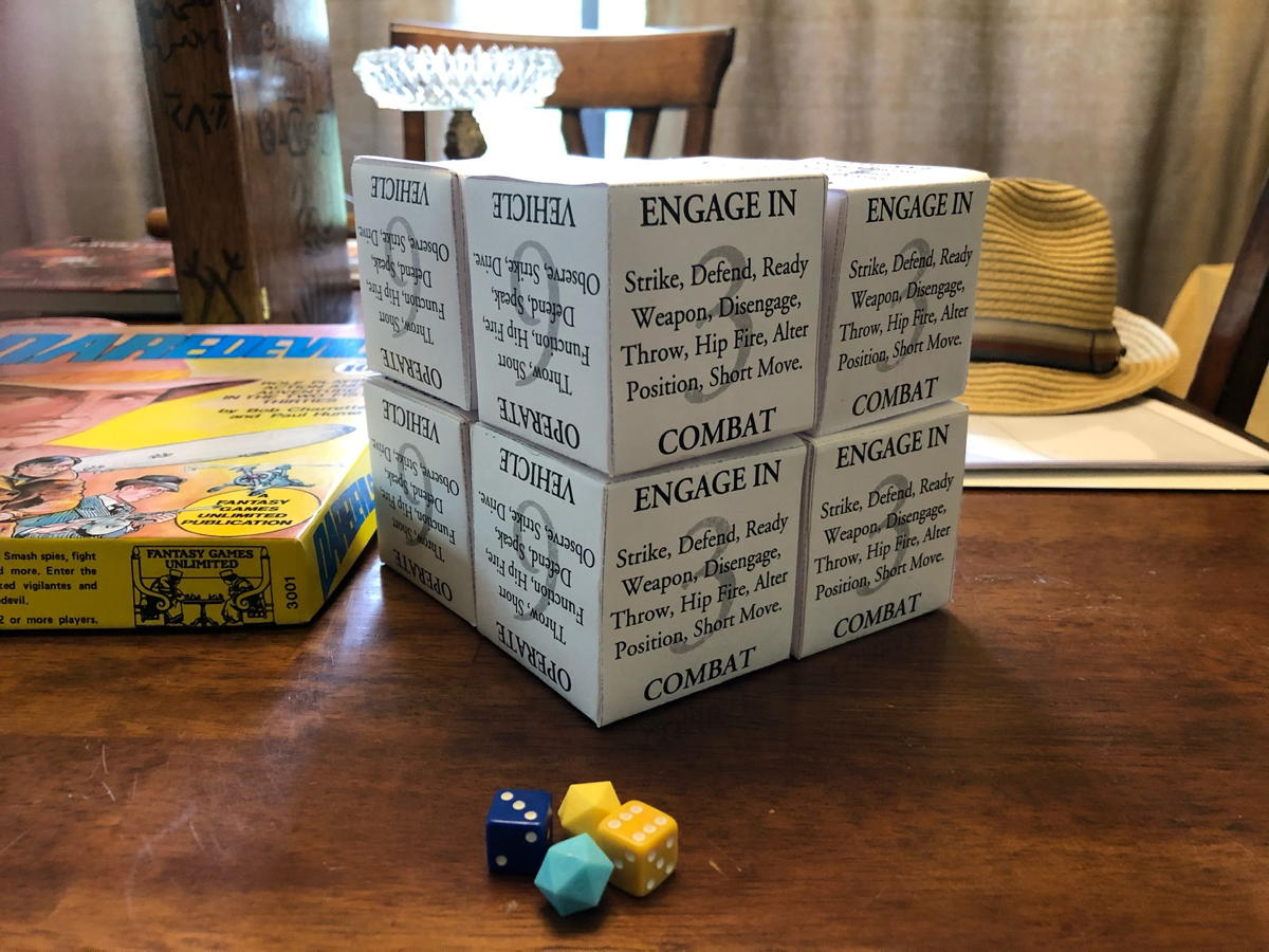 Daredevils Action Options cubes, cubed