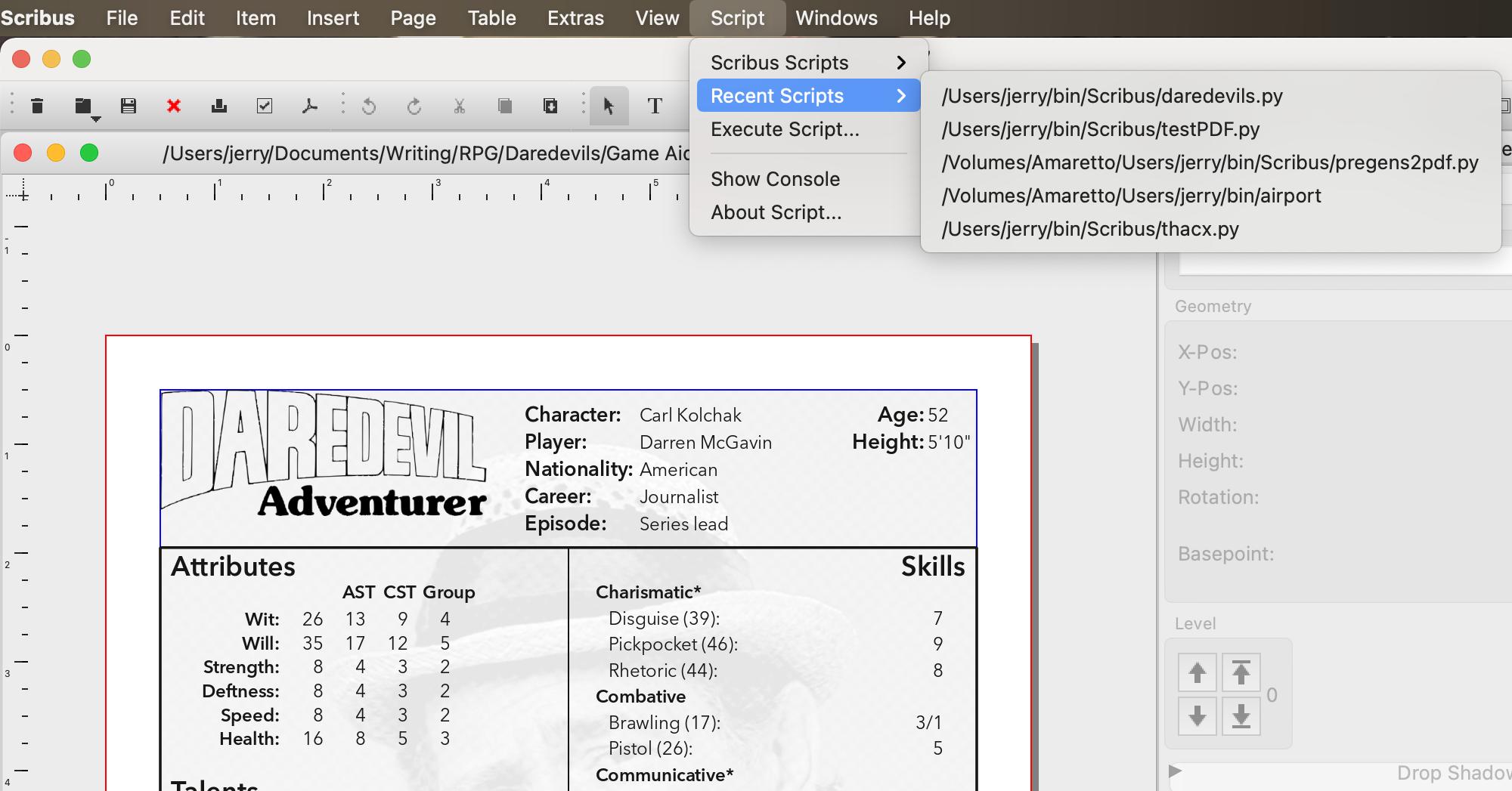 Scribus Script menu