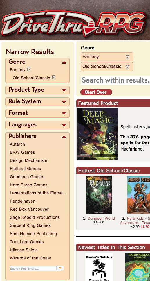 Old School publishers on DriveThruRPG