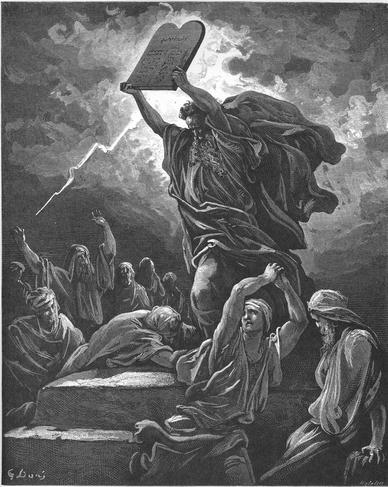 Moses breaks the tablets of the law