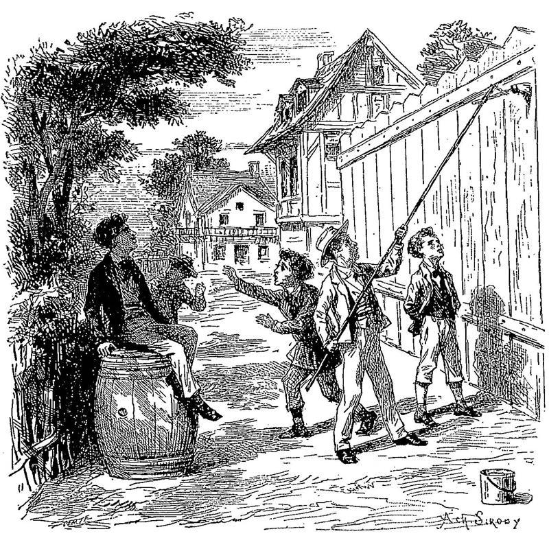 Tom Sawyer paints a fence