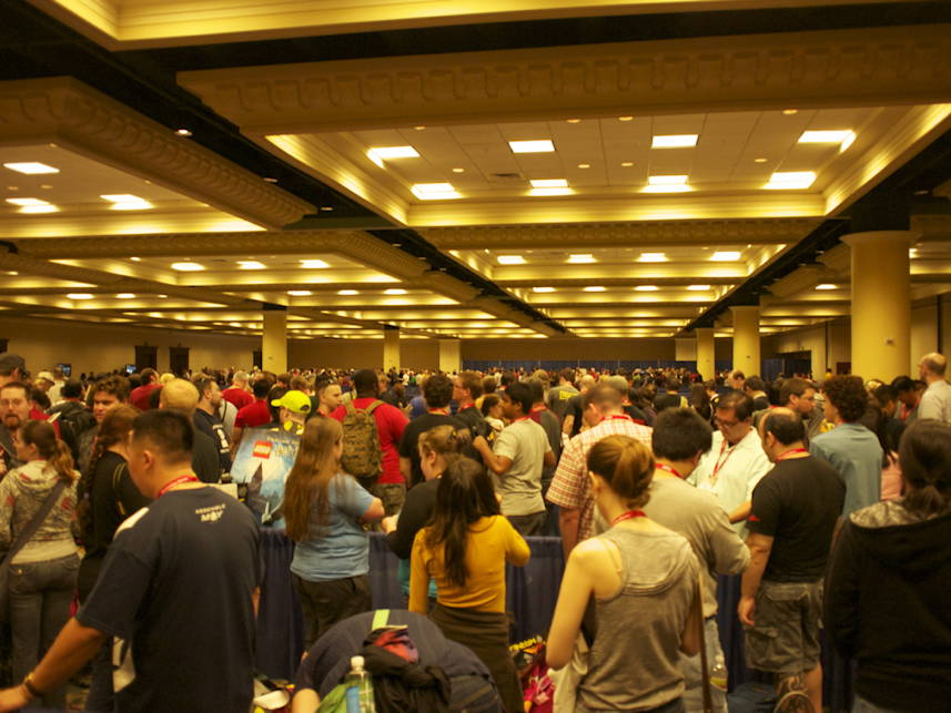 Pre-registration line in the Hyatt