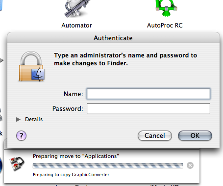 Administrative username and password