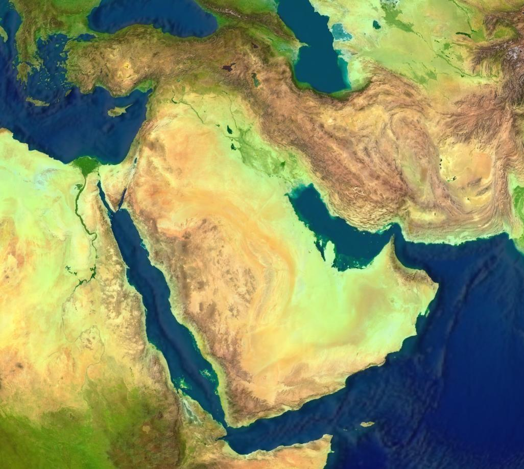 Geographic map of the Middle East