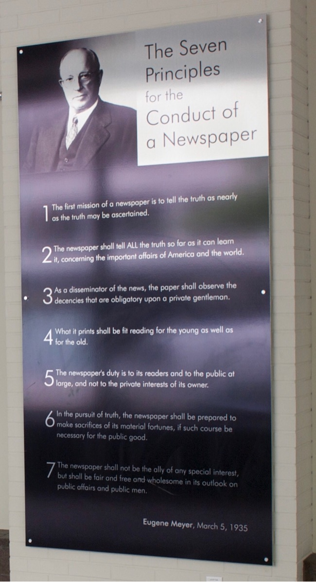 The Seven Principles for the Conduct of a Newspaper