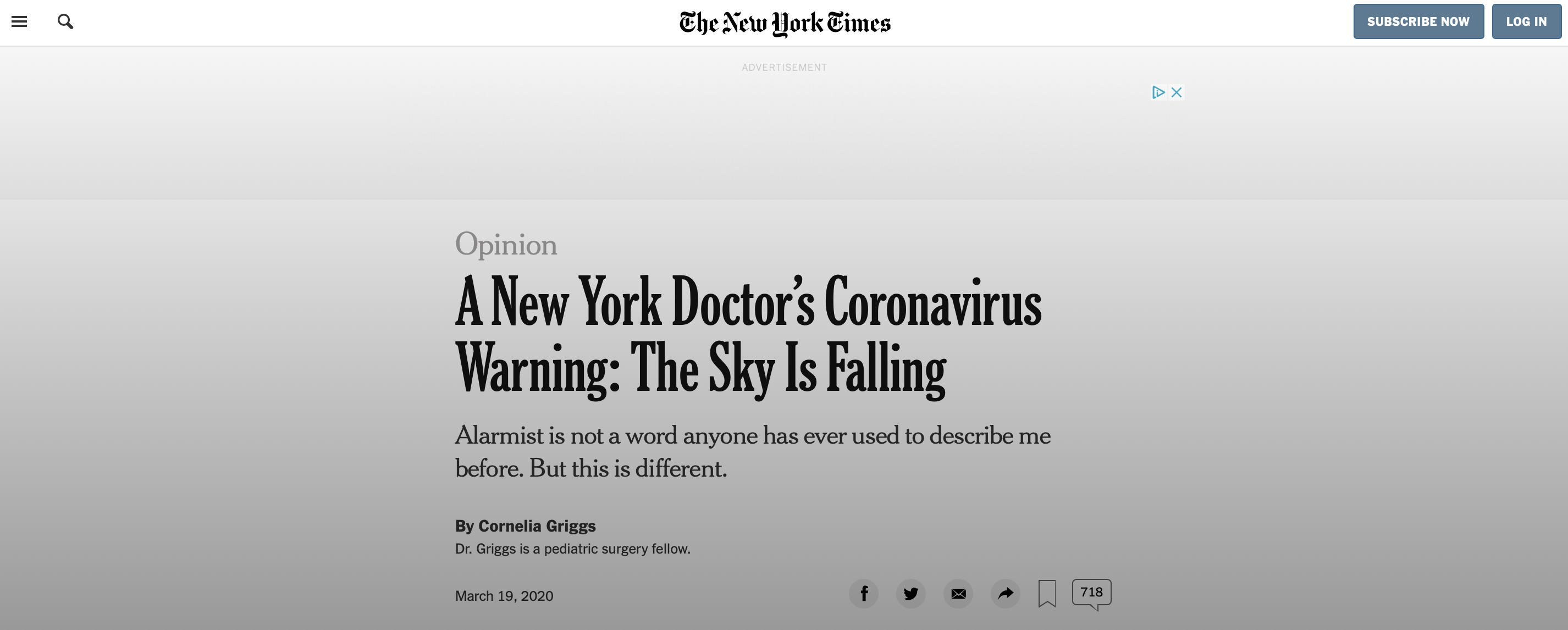 New York Times: The Sky is Falling