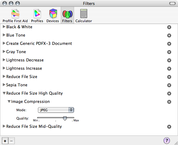 Quartz Filters in ColorSync Utility