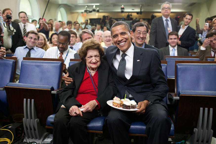 Barack Obama and Helen Thomas