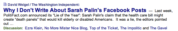David Weigel not writing about Palin