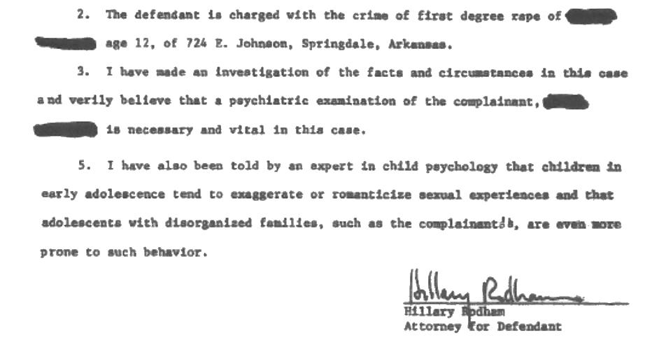 Hillary Clinton rape affidavit, condensed