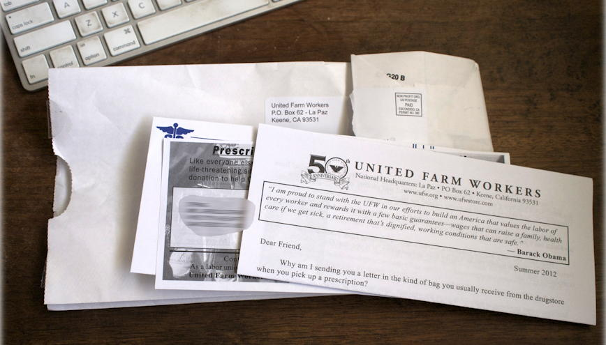 United Farm Workers barf bag