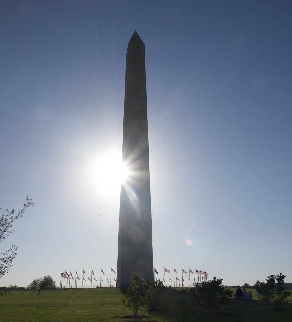 Sunset behind Washington Monument