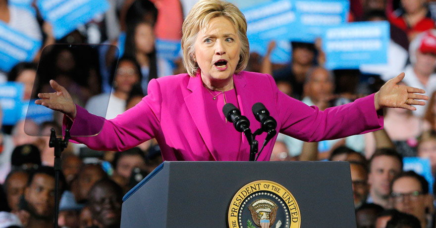 Hillary Clinton campaign speech at presidential podium