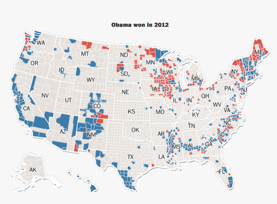 Obama's counties in 2016
