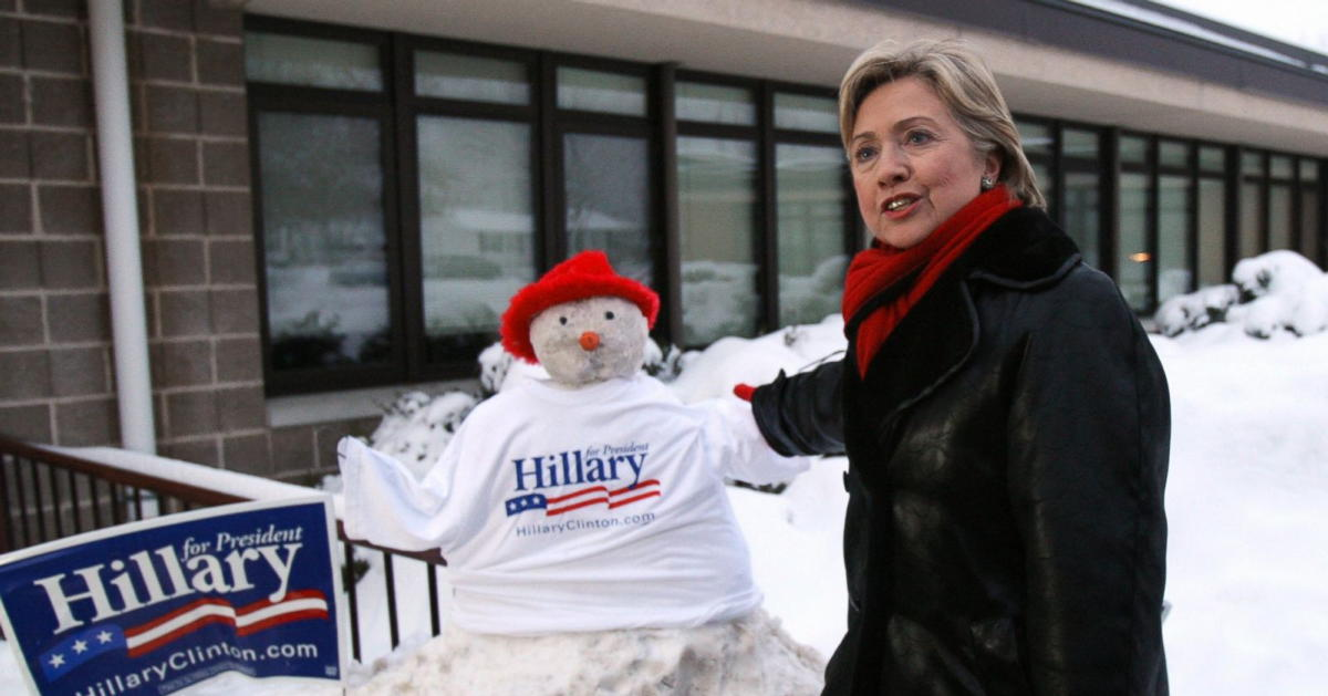 Hillary Clinton in snow