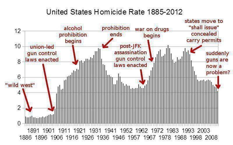 United States Homicide Rate compared to gun control