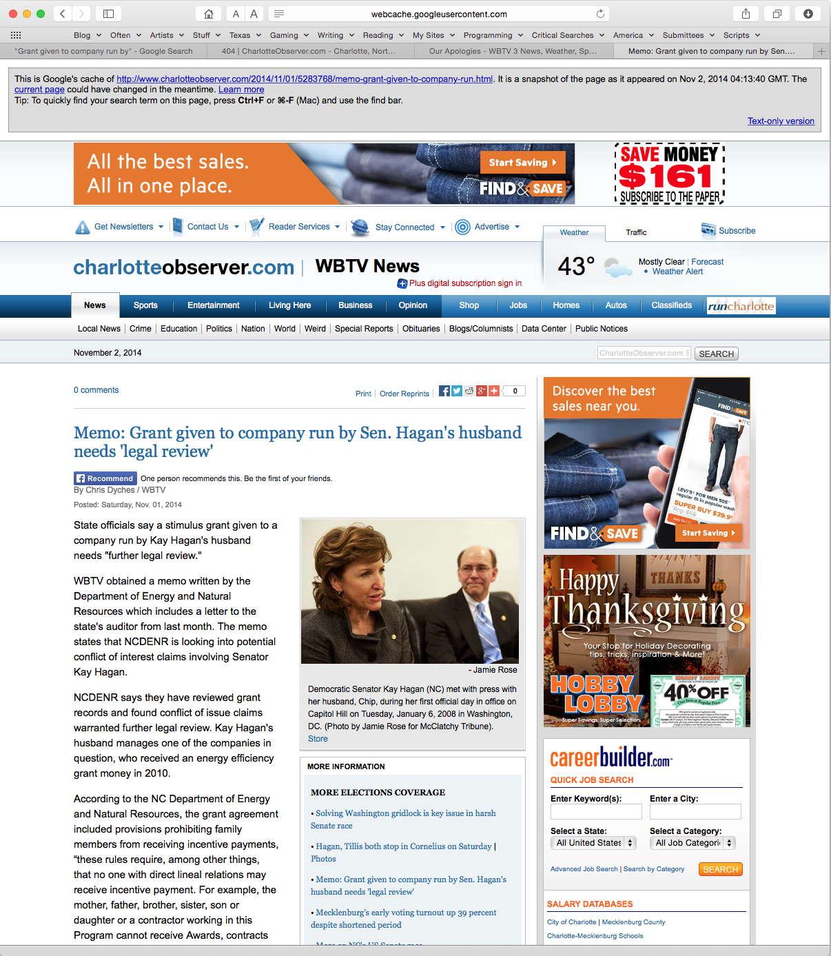 Charlotte Observer cached Hagan scandal