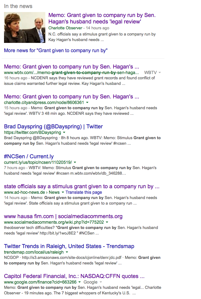 Deleted Hagan articles on Google Search