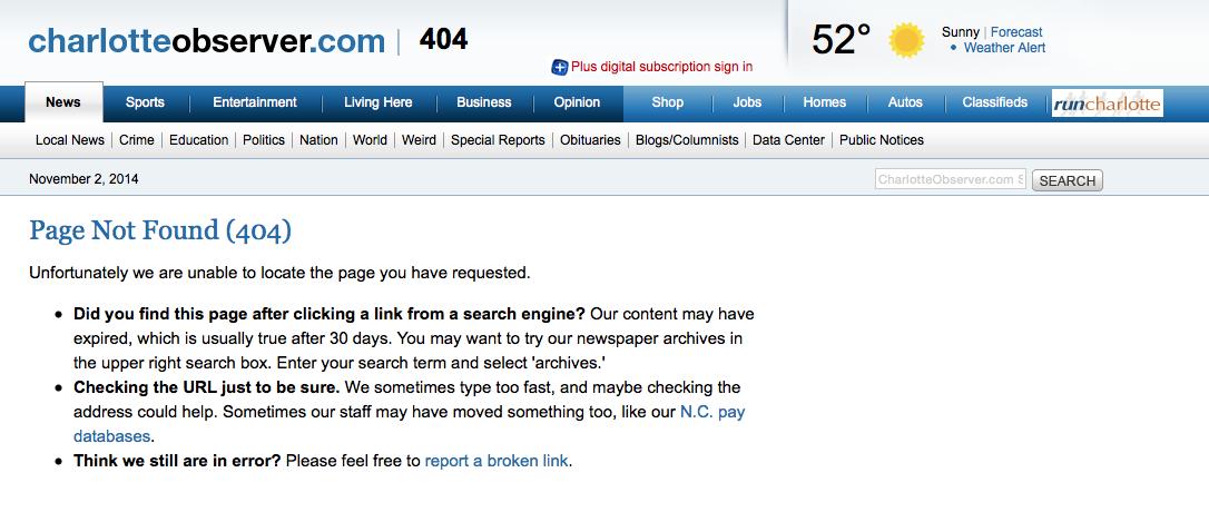 Charlotte Observer Hagan memo 404