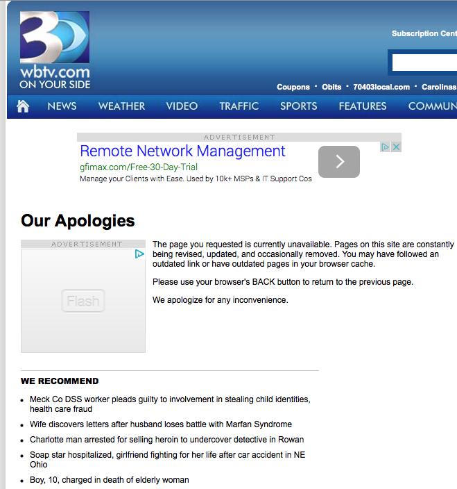 WBTV 3 Hagan memo 404
