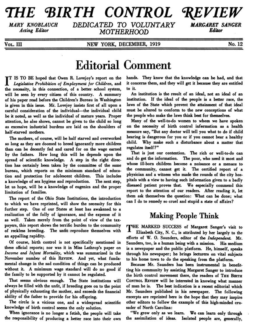 The Birth Control Review, No. 12, December, 1919