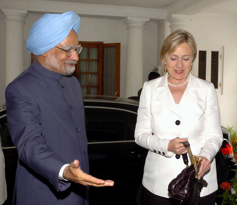 Secretary of State Hillary Clinton and Prime Minister Manmohan Singh