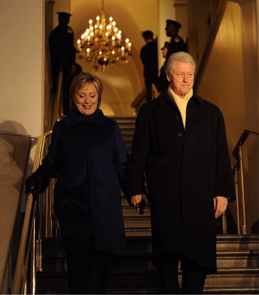 Hillary Rodham Clinton and husband at the 56th Inauguration