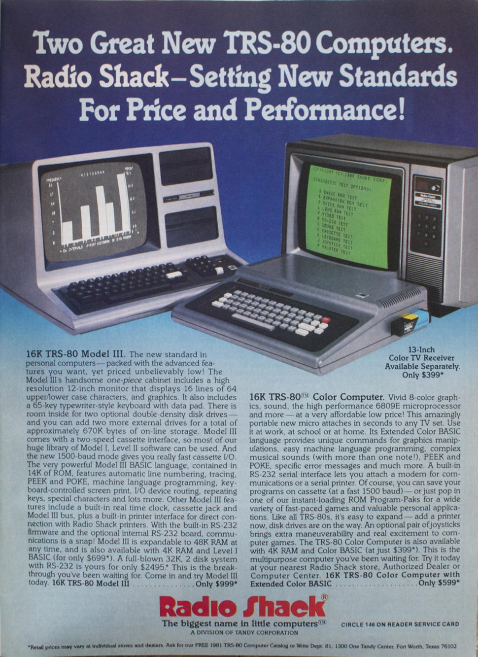 TRS-80 Model III and Color Computer ad
