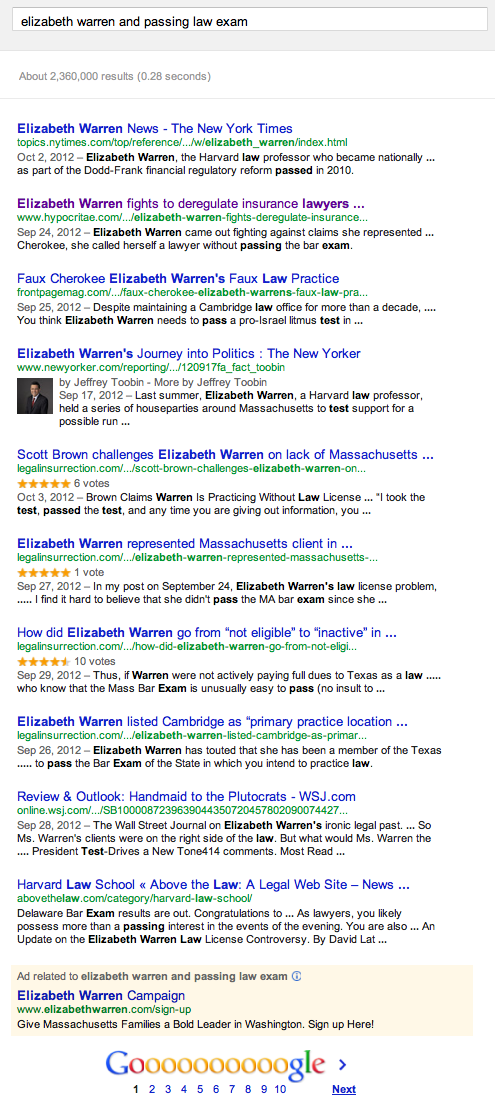Elizabeth Warren law exam search results