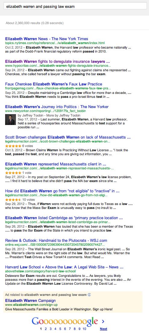 Elizabeth Warren law exam search results