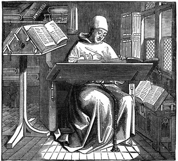 Scriptorium monk at work