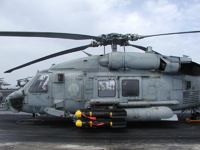 Navy helicopter with hellfire missiles