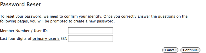 Password reset (start)