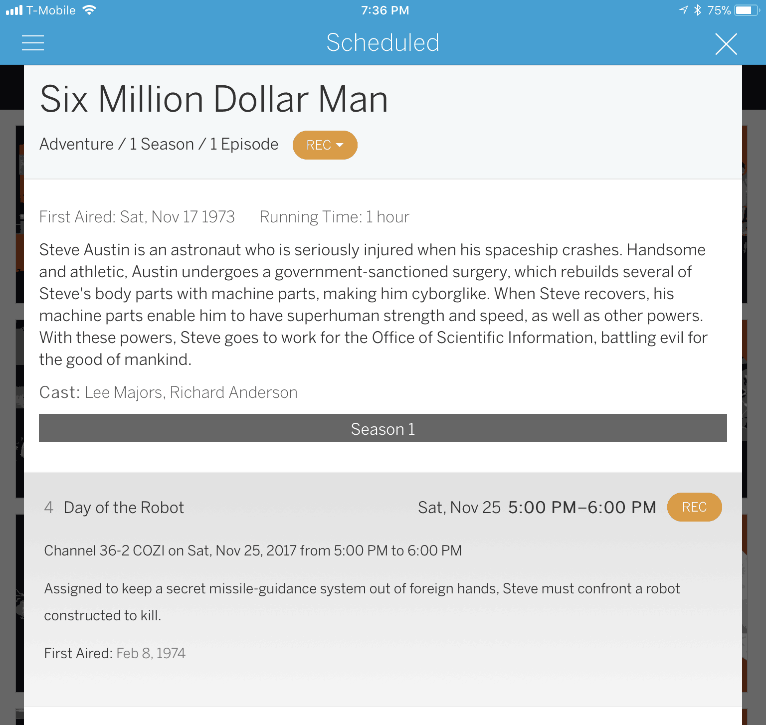 Tablo TV: Six Million Dollar Man