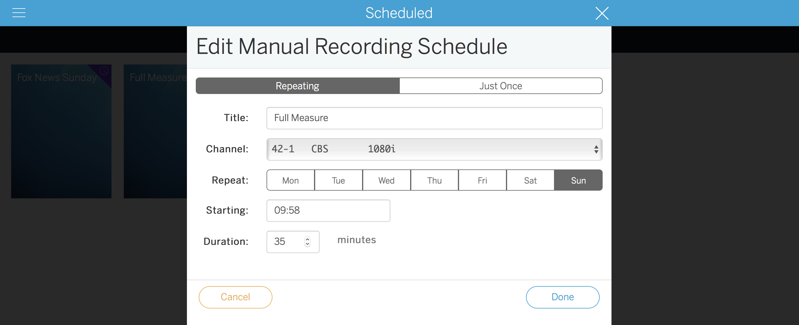 Tablo Edit Manual Recording